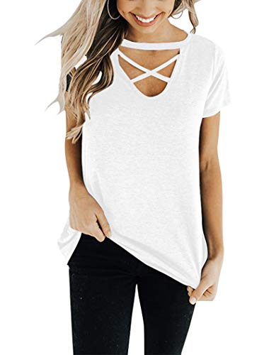 Floral Find Women's Short Sleeve and Long Sleeve Criss Cross Tops Casual V Neck Choker T Shirt Tees White