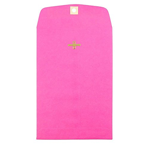 "JAM Paper 6"" x 9"" Open End Envelope with Clasp Closure - Brite Hue Ultra Fuchsia Pink - 100/pack"