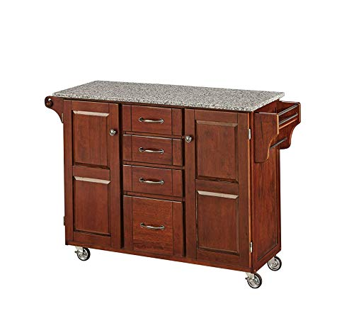 (Wood & Style Furniture Medium Cherry 2 Door Cabinet Kitchen Cart with Salt and Pepper Granite Top by Home Office Commerial Heavy Duty Strong Décor)