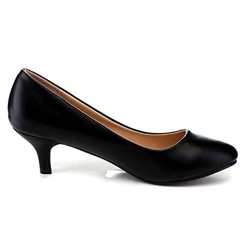 Bellamarie Nine-8 Mujeres Comfy Basic Slip On Pump Vestido De Fiesta Kity Heel Shoe, Color: Negro, Tamaño: 7.5