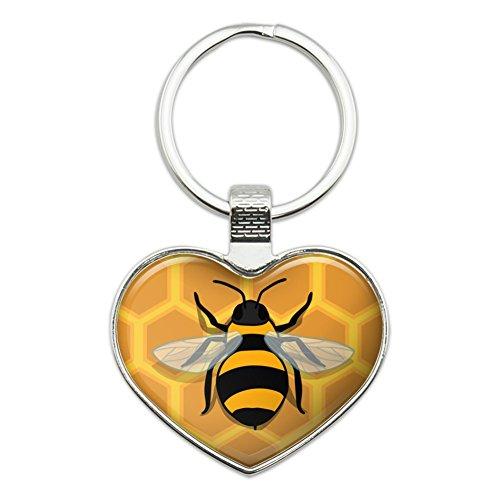 Bee on Honeycomb Heart Love Metal Keychain Key Chain Ring
