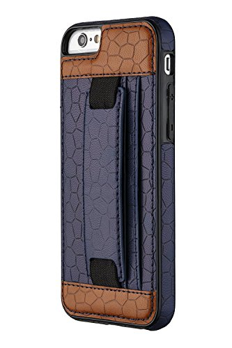 iPhone 6S Case, Moona Wallet Case for iPhone 6S with KickStand '1 Year Warranty' Apple iPhone 6S Wallet Case, iPhone 6S PU Leather Case, iPhone 6S Thin Case, Grip Case for iPhone 6 (Blue/Brown)