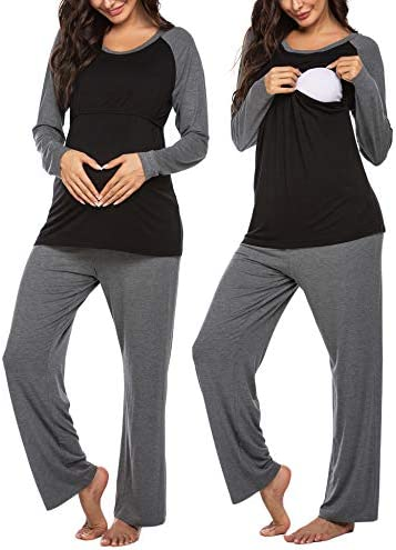 Ekouaer Women Long Raglan Sleeve Maternity Pajama Set Baseball Nursing Breastfeeding Sleepwear Hospital PJ Sets
