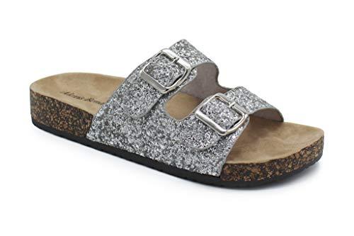 (Alexis Bendel Kylie-01 Women Double Buckle Straps Sandals Flip Flop Platform Footbed Sandals Giltter Silver 10)