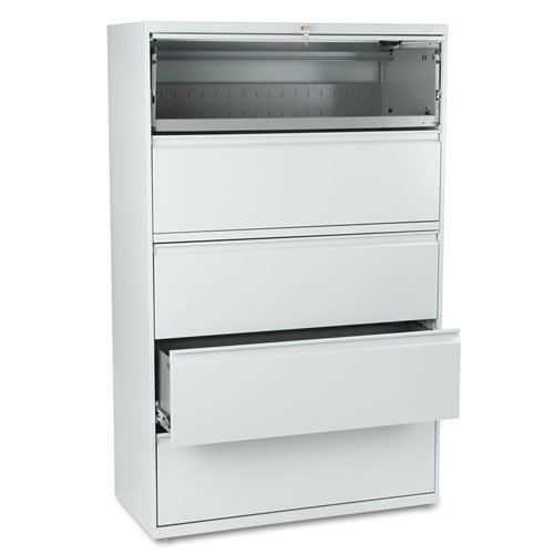 er Lateral File, Roll-Out/Posting Shelves,42w x 67h, Lt Gray (Hon 800 Series Five Drawer)