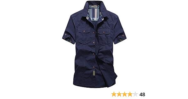 DQQ Camisa de manga corta de algodón sólido para hombre ...