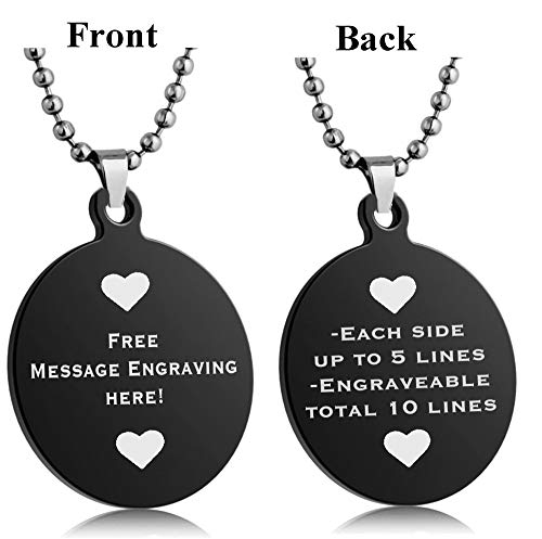 Interway Trading Personalized Regular Size Custom Message Engraved Stainless Steel Necklace Dog Tag Pendant with 24 inch Chain,Velvet Giftpouch and Keyring (Round Black)