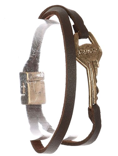 Parisian Chic Bracelet Aged Finish Metal Message Key Strength Faux Leather Double Strand Magnetic Closure Brown