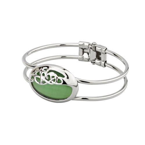 (Book of Kells Cats Eye Bracelet Green & Rhodium Plated)