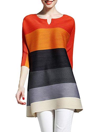 Sommer Damen Casual Rundhals 3 4 Arm Kurz Kleid Fashion Farbe Spleißen Tuniken  Lang Shirt Oberteile 61654149d4