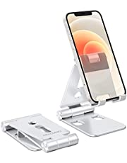"""Foldable Cell Phone Stand, OMOTON C4 Portable Aluminum Phone Holder, Adjustable Phone Dock Cradle Compatible with iPad (7.9-11""""), Samsung Galaxy, Ebook Reader and More, Black"""