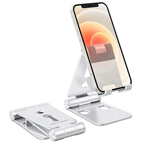 "Foldable Cell Phone Stand, OMOTON C4 Portable Aluminum Phone Holder, Adjustable Phone Dock Cradle Compatible with iPad (7.9-11""), Samsung Galaxy, Ebook Reader and More, Silver"