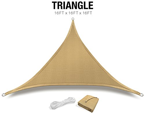 Sorbus Sun Shade Sail [16' X 16' X 16'] Triangle Canopy Sail with UV Block for Patio, Garden Outdoor Facility, and Activities (Triangle - Sand Tan) by Sorbus