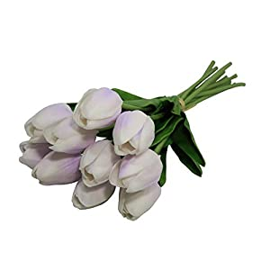 EZFLOWERY 10 Heads Artificial Tulips Flowers Real Touch Arrangement Bouquet for Home Room Office Party Wedding Decoration, Excellent Gift Idea for Mothers Day (10, Soft Purple) 60