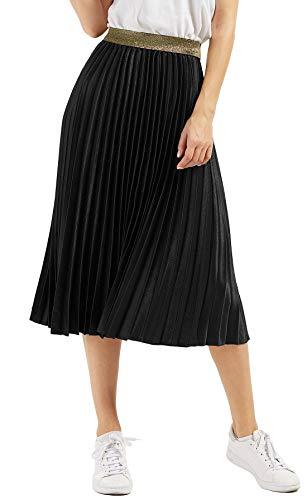 (Chartou Womens Elastic-Waist Accordion Pleated Metallic Long Party Skirt (Black, one)