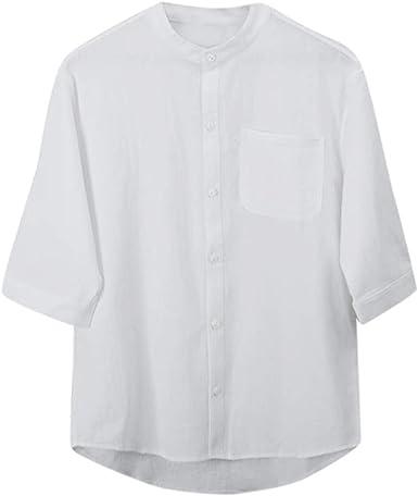 Geilisungren Camisa Hombre Blusa Suelta Casual Transpirable Top de Manga Corta Camisas Sin Cuello de Color Sólido Blusas de Trabajo(Blanco, XXL: Amazon.es: Ropa y accesorios
