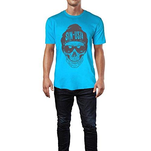 SINUS ART® Totenkopf mit Sonnenbrille und Wollmütze Herren T-Shirts in Karibik blau Cooles Fun Shirt mit tollen Aufdruck