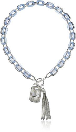 GUESS - Collar de Cadena con Piedras para Mujer, Color Plateado, Talla única