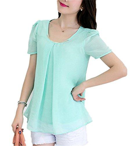 SDHEIJKY Fashion Women Chiffon Blouse Casual Fashion Summer Blouse Shirts