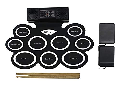 Electric Drum Set with Headphone Jack, Built-in Speaker and Battery, 9 Pads, Drum Stick and Foot Pedals. Portable drum kit. Best Christmas Gift (bilingual)