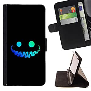cool funny face smile evil teeth black - Painting Art Smile Face Style Design PU Leather Flip Stand Case Cover FOR Apple Iphone 4 / 4S @ The Smurfs