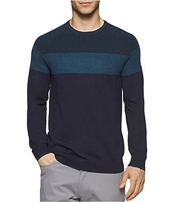 Calvin Klein Men's Merino Color Blocked Crew Neck Sweater