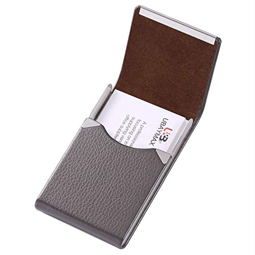 RFID Blocking Business Card Holder,Leather/Metal Business Cards Case Business Card Wallet with Magnetic Closure Silver (Best Credit Card For First Time User)