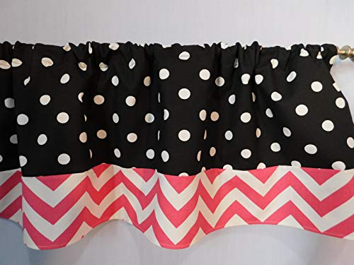 Black and white polka dots with hot Pink chevron valance curtain Window treatment decor, Bedroom, dorm, Girls, children, nursery, home touch decor. 54