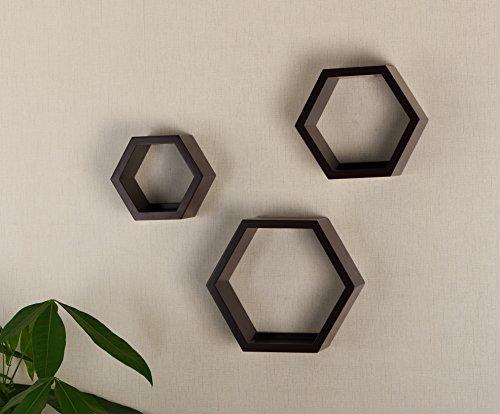 V-LIGHT Wood Wall Finish, Set of Three Cubes (VW151006E) Decorative Shelving, Espresso (Wall Home Decor Shelves)