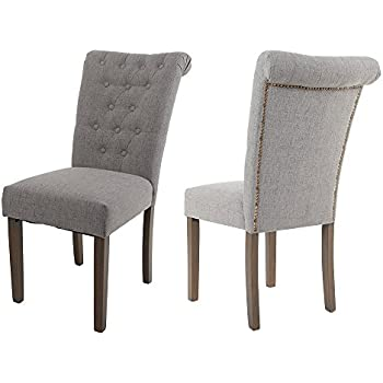 Bon Merax Set Of 2 Fabric Dining Chairs With Solid Wood Legs, Gray