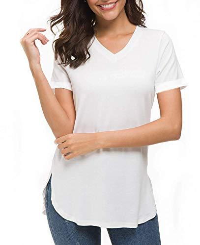 (Roshop Women's Plus Size Jersey Short-Sleeve Scoop Neck Shirt with Cut Hem (XL, White))
