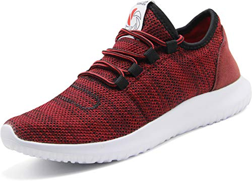 CAMVAVSR Men's Sneakers Fashion Slip on Lightweight Breathable Mesh Soft Sole Walking Running Jogging Shoes for Men Red Size 12