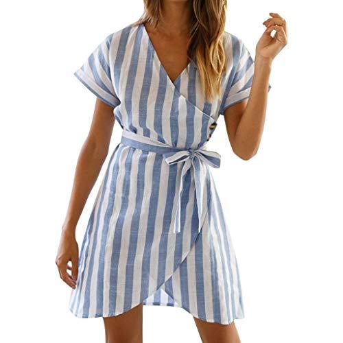 Big Sale! Wintialy 2019 Women Holiday Short Sleeve V Neck Wrap Mini Dress Ladies Summer Striped Dress -