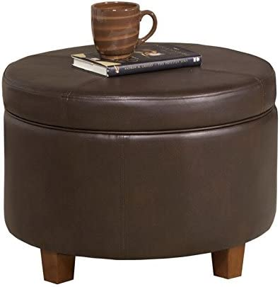 HomePop Round Leatherette Storage Ottoman with Lid, Chocolate Brown