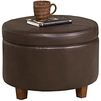 large leatherette round storage ottoman lid chocolate brown extra covers giant table buy with