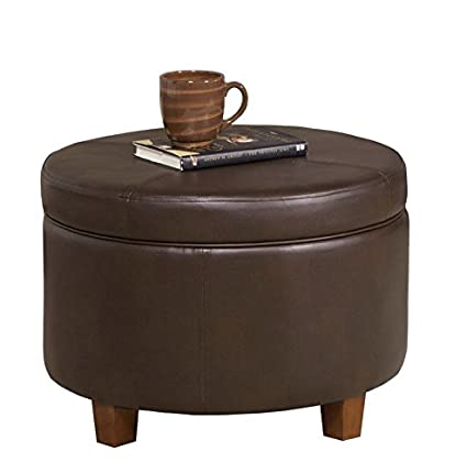 Home Pop K6862 E846 Round Faux Leather Storage Ottoman Living Room Furniture, Chocolate Brown by Home Pop