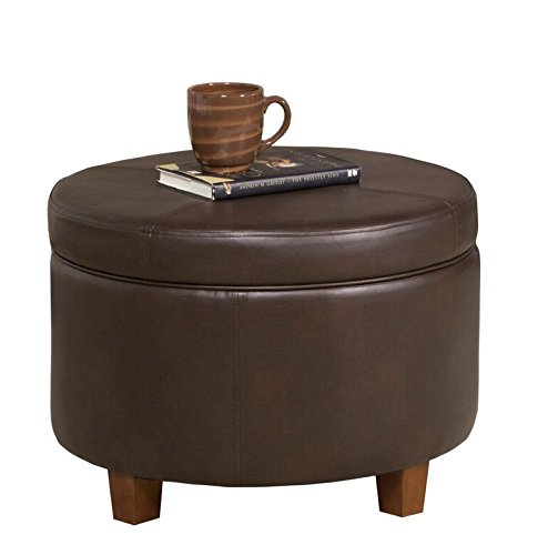 (HomePop Round Leatherette Storage Ottoman with Lid, Chocolate Brown)