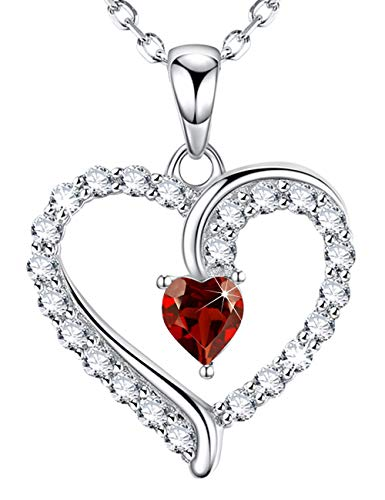 July Birthstone Red Ruby Necklace Love Heart Sterling Silver Jewelry Anniversary Birthday Gifts for Women Her 20 Chain
