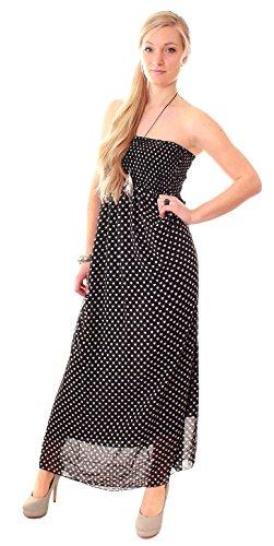 Langes Chiffon Bandeau Kleid Sommerkleid Maxikleid schwarz onesize