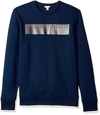 Calvin Klein Men's Long Sleeve Heat Transfer Logo Pullover Sweatshirt, Atlantis, X-Small