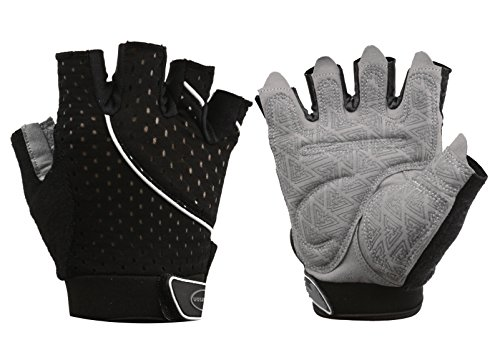Tourdarson Weight Lifting Gym Gloves Microfiber & Anti-Slip Silica Gel Grip Padded Workout Gloves for Weightlifting, Cross Training, Gym, Fitness, Bodybuilding Men & Women (Black, Medium) (Best Weight Lifting Clothes)