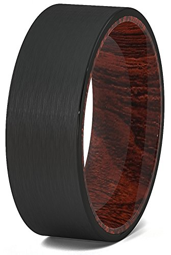 Black Tungsten Ring Solid Wood Surface 8mm Flat Edge Comfort Fit - Tungsten Ring Solid