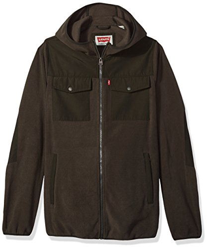 Levi's Men's Big and Tall Mixed Media Fleece Hoodie, Dark Olive/Olive, 4X by Levi's