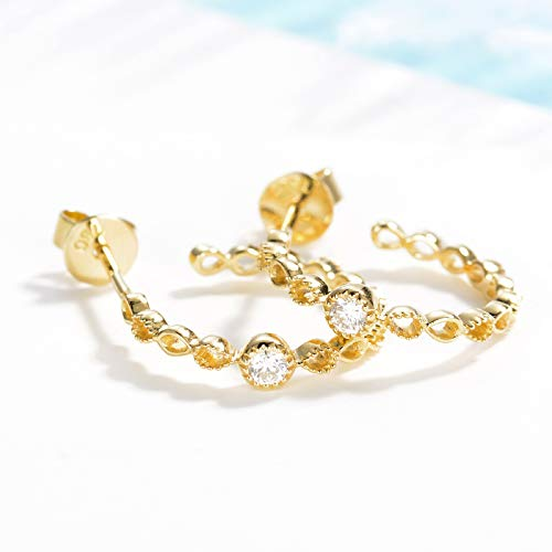 Unique 18k gold diamond stud earrings with delicate beaded diamond earrings 0.1ct simple diamond ornaments birthday gift present stud earrings for women
