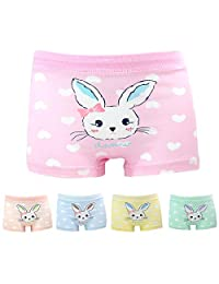 Allmeingeld Girls' Rabbit Panties Bunny Boyshort Cotton 5 Pack for 1-13 Years