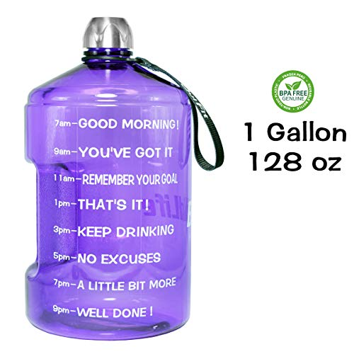 QuiFit 1 Gallon Water Bottle Reusable Leak-Proof Drinking Water Jug for Outdoor Camping BPA Free Plastic Sports Water Bottle with Daily Time Marked (Amethyst)