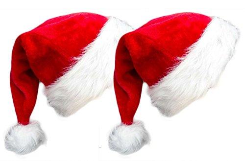 NIGHT-GRING 2 Pack Plush Christmas Hat Santa Hat for Adults Red Velvet Comfort Liner Christmas Costume (Red)