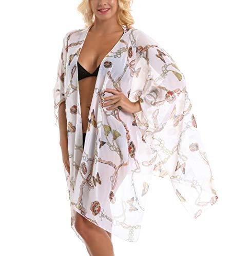 - HINURA Women's Kimono Vintage Floral Large Beach Cover up Paisley Print Sheer Chiffon Loose Cardigan Butterfly Print.