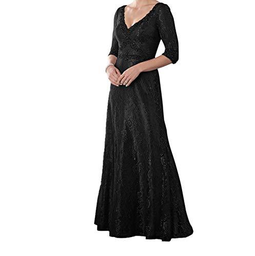 Brautmutterkleider Neu Lang Grau Spitze Langarm Schwarz 4 mit 3 Ballkleider Damen Abendkleider Festlichkleider Charmant wSfx7Iw