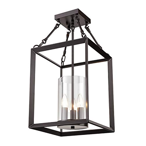 (Dazhuan Vintage 3-Lights Metal Cage Chandelier with Clear Glass Semi Flush Mount Ceiling Lighting Lamp)